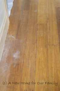Water damage to the floor boards when the box gutter overflowed due to water damage.